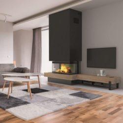 Cheminée sur-mesure concept wood : LONGBOARD-P95OK